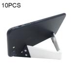 10 PCS V Shape Universal Mobile Phone Tablet Bracket Holder (White)