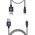 DUX DUCIS 2A USB to 8 Pin Charging Cable Long section 1m + Short Section 0.2m Braided Data Cable (Blue)