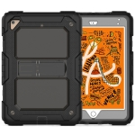 Shockproof Transparent PC + Silica Gel Protective Case for iPad Mini 2019 / Mini 4, with Holder & Shoulder Strap (Grey)