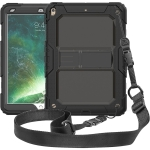 Shockproof PC + Silica Gel Protective Case for iPad Air (2019), with Holder & Shoulder Strap(Black)
