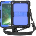 Shockproof Transparent PC + Silica Gel Protective Case for iPad Air (2019), with Holder & Shoulder Strap (Blue)