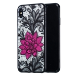Big Lotus Pattern Embossed Lace + PC Case for iPhone XS Max