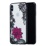 Small Lotus Pattern Embossed Lace + PC Case for iPhone XS Max