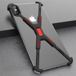 Shockproof Metal Bare Frame Protective Case for iPhone XS Max (Black Red)