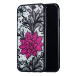 Big Lotus Pattern Embossed Lace + PC Case for iPhone XR