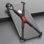 Shockproof Metal Bare Frame Protective Case for iPhone XR (Black Red)