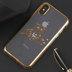 Owl Pattern Diamond Border TPU Protective Case for iPhone X / XS (Gold)