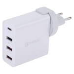 3A Max Output USB-C / Type-C + QC3.0 + Dual USB 4 Ports Wall Travel Charger, EU Plug