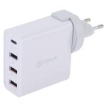 3A Max Output USB-C / Type-C + QC3.0 + Dual USB 4 Ports Wall Travel Charger, EU Plug