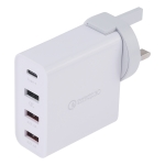 3A Max Output USB-C / Type-C + QC3.0 + Dual USB 4 Ports Wall Travel Charger, UK Plug