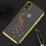 Peacock Pattern Diamond Border TPU Protective Case for iPhone X / XS (Gold)
