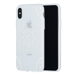 Tribal Flower Pattern Embossed Lace + PC Case for iPhone XS / X (White)