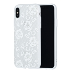 Rose Pattern Embossed Lace + PC Case for iPhone XS / X(White)