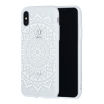 Big Tribal Flower Pattern Embossed Lace + PC Case for iPhone XS / X (White)