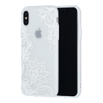 Small Lotus Pattern Embossed Lace + PC Case for iPhone XS / X (White)