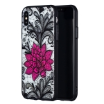 Big Lotus Pattern Embossed Lace + PC Case for iPhone XS / X