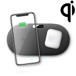 QX910F QI Standard 10W/7.5W Dual Charge Wireless Charger for Galaxy Note9 / S10 & AirPods 2 (Black)
