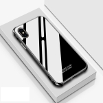 Crystal Cube Shockproof Airbag Tempered Glass + Metal Frame Case for iPhone XS / X (Black)