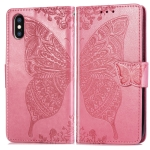 Butterfly Love Flowers Embossing Horizontal Flip Leather Case for iPhone X, with Holder & Card Slots & Wallet & Lanyard (Pink)