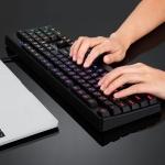 AULA F2000 DC 5V Resist Water Splash Laser Character Six-segment Colorful Backlit Gaming Office Wired Keyboard (Black)