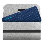 Portable Felt Wireless Bluetooth Keyboard Storage Bag Dust-proof Bag for Logitech K380 Keyboard, with Magic Stick(Light Grey)
