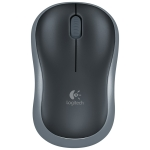Logitech M186 4-keys Bilateral Symmetry 1000DPI Wireless Optical Mouse with Receiver Storage Bin, Wireless Range: 25m (Black Grey)