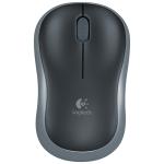 Logitech M186 4-keys Bilateral Symmetry 1000DPI Wireless Optical Mouse with Receiver Storage Bin, Wireless Range: 25m (Black Grey)