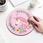 Unicorn Pattern Circular Mouse Pad, Diameter: 22cm