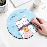 Coffee Cat Pattern Circular Mouse Pad, Diameter: 22cm