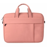 DJ03 14.1 inch Waterproof Anti-scratch Anti-theft One-shoulder HandBag for Laptops, with Suitcase Belt (Pink)