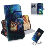 Oil Painting Owl Pattern Coloured Drawing Horizontal Flip Leather Case for LG V50 ThinQ 5G, with Holder & Card Slots & Wallet