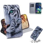 Tiger Pattern Coloured Drawing Horizontal Flip Leather Case for LG V50 ThinQ 5G, with Holder & Card Slots & Wallet