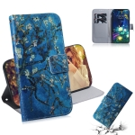 Apricot Flower Pattern Coloured Drawing Horizontal Flip Leather Case for LG V50 ThinQ 5G, with Holder & Card Slots & Wallet