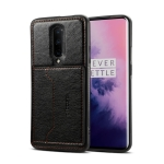 Dibase TPU + PC + PU Crazy Horse Texture Protective Case for OnePlus 7 Pro, with Holder & Card Slots (Black)