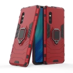 Shockproof PC + TPU Protective Case for VIVO X27, with Magnetic Ring Holder (Red)