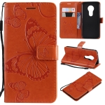 Butterfly Embossing Pattern Horizontal Flip Leather Case for Motorola Moto G7 Play, with Card Slot & Holder & Wallet & Lanyard (Orange)