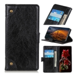Copper Buckle Nappa Texture Horizontal Flip Leather Case for Motorola Moto P40 Play, with Holder & Card Slots & Wallet (Black)