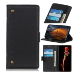 Copper Buckle Retro Crazy Horse Texture Horizontal Flip Leather Case for Motorola Moto P40 Play, with Holder & Card Slots & Wallet (Black)