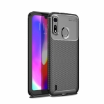 Carbon Fiber Texture Shockproof TPU Case for Motorola Moto P40 Play (Black)
