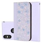 Crocodile Texture Glitter Powder Horizontal Flip Leather Case for Motorola One (P30 Play), with Card Slots & Holder (White)