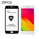 25 PCS MIETUBL Full Screen Full Glue Anti-fingerprint Tempered Glass Film for OPPO F1s (Black)