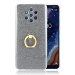 Glittery Powder Shockproof TPU Protective Case for Nokia 9, with 360 Degree Rotation Ring Holder (Black)