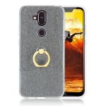 Glittery Powder Shockproof TPU Protective Case for Nokia X7, with 360 Degree Rotation Ring Holder (Black)
