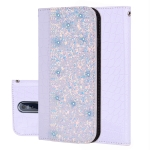 Crocodile Texture Glitter Powder Horizontal Flip Leather Case for Nokia 7.1, with Card Slots & Holder (White)