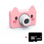 D9 800W Pixel Lens Fashion Thin and Light Mini Digital Sport Camera with 2.0 inch Screen & Pig Shape Protective Case & 16G Memory for Children