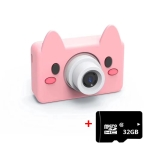 D9 800W Pixel Lens Fashion Thin and Light Mini Digital Sport Camera with 2.0 inch Screen & Pig Shape Protective Case & 32G Memory for Children