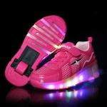 J29 LED Light Single Wheel Roller Skating Shoes Sport Shoes, Size : 32 (Rose Red)