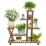 Wooden Plant Flower Display Stand Wood Pot Shelf Storage Rack, with Wheel