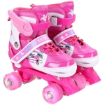 Adjustable Full Flash Children Double Row Four-wheel Roller Skates Skating Shoes, Size : S(Pink)