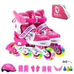 Adjustable Full Flash Children Single Row Four-wheel Roller Skates Skating Shoes Luxury Set, Size : S(Pink)